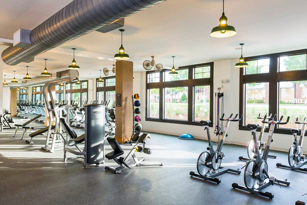 fitness center at The Oliver Apartments
