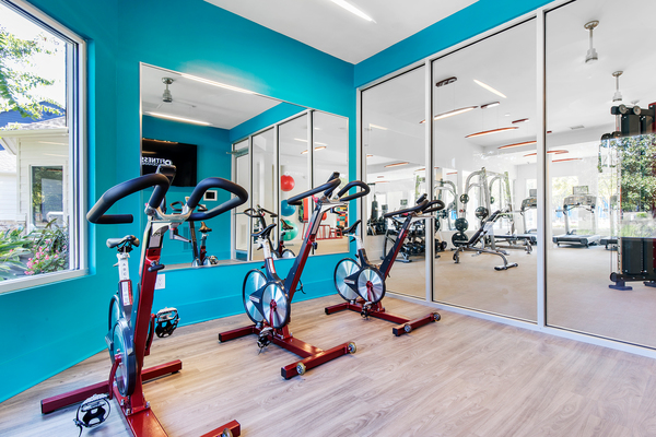 yoga/spin studio at Berkeley Place Apartments