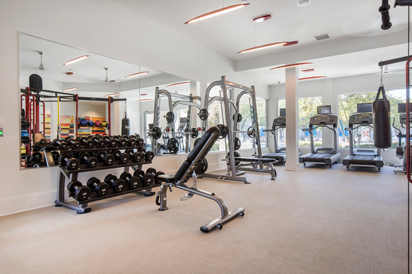fitness center at Berkeley Place Apartments