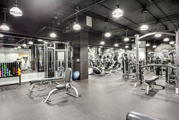 fitness center at 55 West Apartments