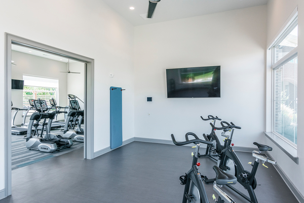 yoga/spin studio at The Banks At West Fork Apartments