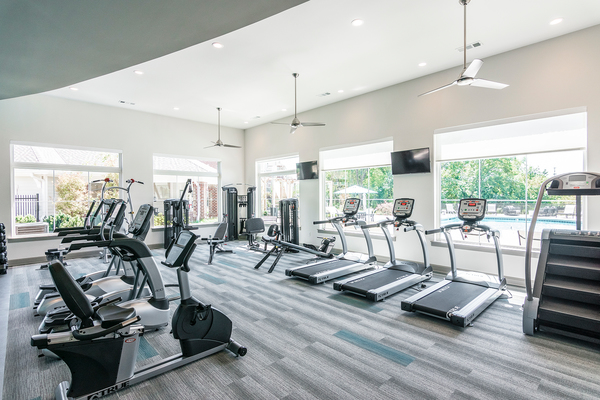 fitness center at The Banks At West Fork Apartments
