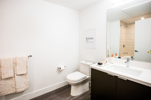 bathroom at Fourth Street East Apartments