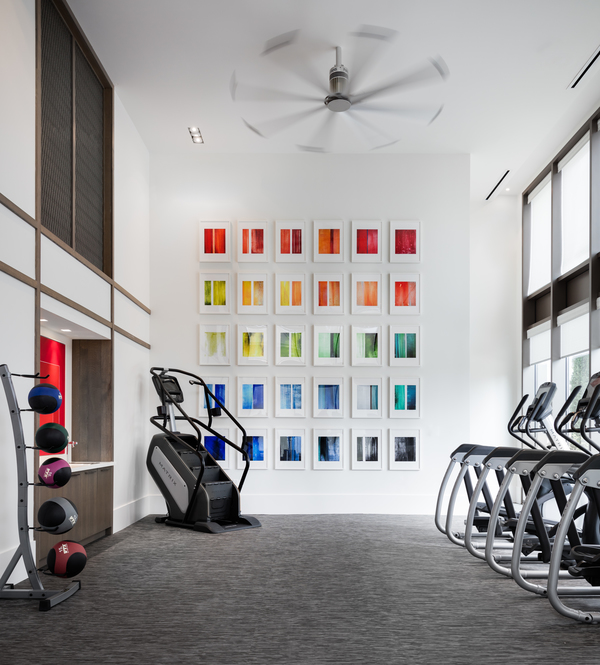 fitness center at Grey House Apartments