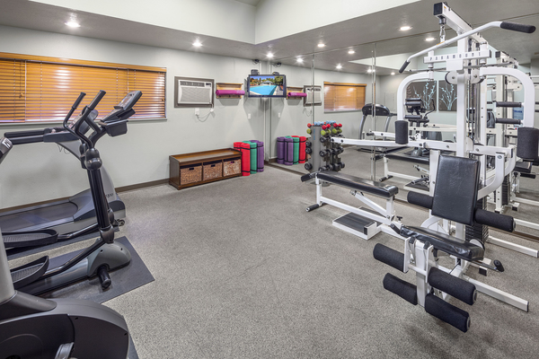 fitness center at Sorrento Bluff Apartments