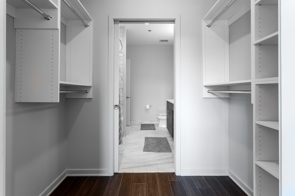 closet at Luxe on Chicago Apartments