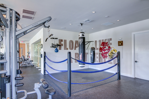 fitness center at The Quaye at Palm Beach Gardens Apartments