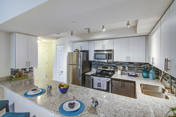 kitchen at The Quaye at Palm Beach Gardens Apartments