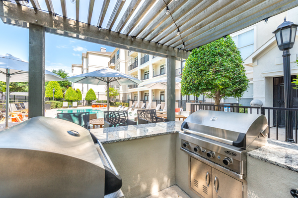 grill area at 75 West Apartments