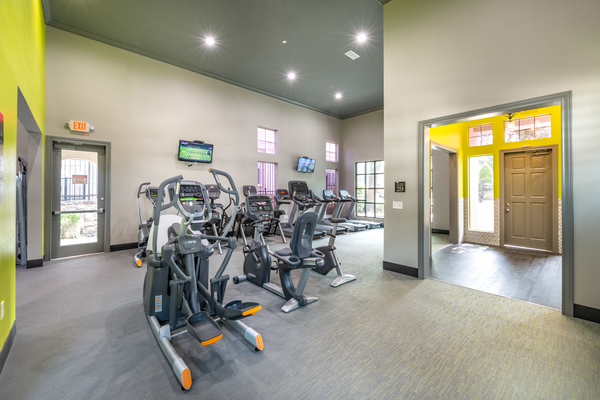 fitness center at 75 West Apartments