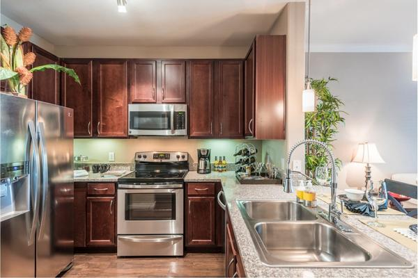 kitchen at Deseo at Grand Mission Apartments