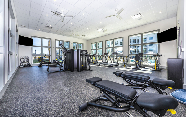 fitness center at Atlantic on the Boulevard Apartments