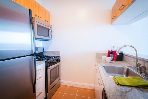 kitchen at 800 Sixth Apartments