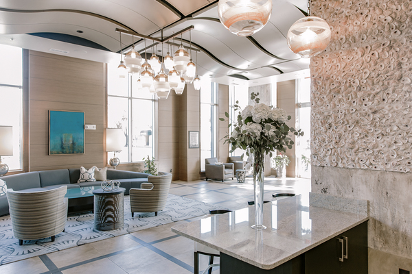front lobby at Elan Midtown Luxury Apartments