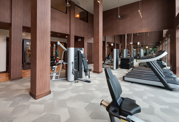 fitness center at Alexan Crossings Apartments