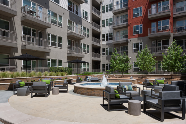 courtyard at Alexan Crossings Apartments