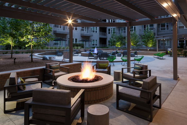 fire pit at Alexan Crossings Apartments