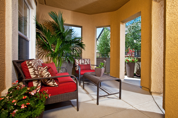 patio at St. Claire Apartment Homes