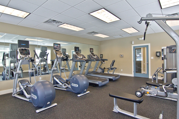 fitness center at Pines of York Apartments