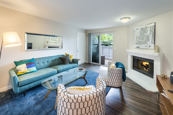 living room at 81 Fifty at West Hills Apartment Homes