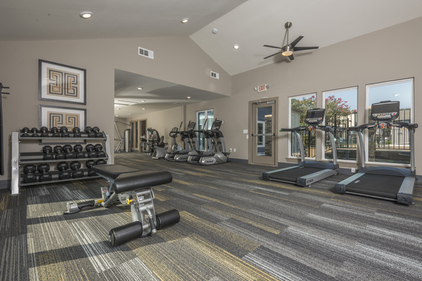 fitness center at South Lamar Village Apartments