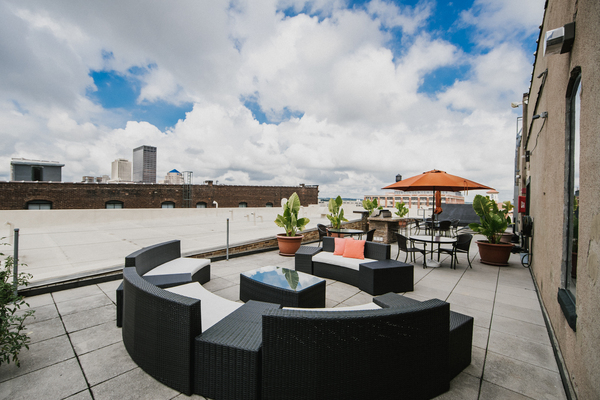 rooftop deck at The Cannery Apartments